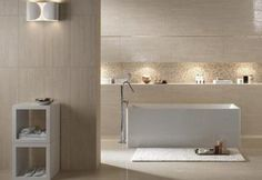 Discover the best Travertino-Romano-Scanalato.html products on Dwell Built In Shelves, Modern Bathroom, Bungalow, Bathtub, Mirror, Luxury, Furniture, Beige, Home Decor