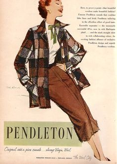 "{via the vintage traveler | 26 Oct 2011 } "" Ad Campaign – Pendleton, 1950s"""