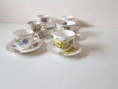 Mix vintage // mix thee kop en schotel// vintage// brocant// cadeau//Engelse stijl// set van 6 // bruiloft// high tea// vintage thee kop High Tea, Sugar Bowl, Bowl Set, Etsy, Vintage, Tea, Tea Time
