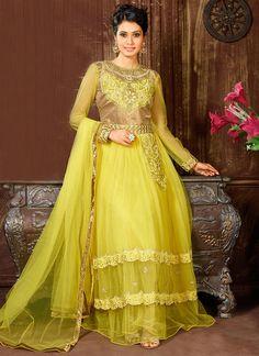 Yellow Net Floor Length Anarkali Suit