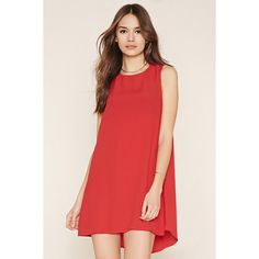 Love 21 Women's  Contemporary Shift Dress ($23) ❤ liked on Polyvore featuring dresses, red mini dress, sleeveless dress, red sleeveless dress, rayon dress and zipper back dress