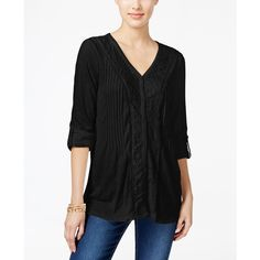 Style & Co. Lace-Trim Textured Blouse, ($27) ❤ liked on Polyvore featuring tops, blouses, deep black, lacy tops, lace blouse, lace tops, pleated blouse and lace trim top