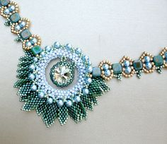 Statement  Crystal Necklace in  Aquamarine Blue and Olive Green Jewelry Romantic Gift Pompeii Fresco