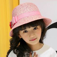 c2fa6aa604f Khaki straw bucket hat with bow for girls kids best UV sun protection hat