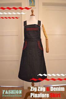 Zig Zag & Denim Pinafore Skirt - Fashion Fantastica