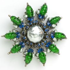 Emerald, Pearl & Sapphire Post-war Brooch by Miriam Haskell