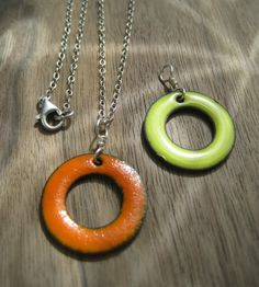The Positivity Circle Reversible Necklace Orange and by Steinvika, $39.00