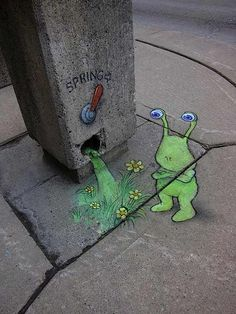 Chalk Art by David Zinn - Like facebook: Cool Artwork #streetart jd