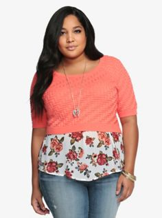 Chevron Knit Cropped Sweater from Torrid. I love the color for Spring and layered over the rose chiffon top.