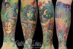 Rock tattoo. Janis Joplin, Jim Morrison, Jimmi Hendrix. Done at Studio Lotus, Campinas-SP, BRAZIL. Deborah (Deh) Soares. More : facebook.com/studiolotustatuagem