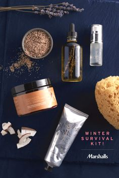 Create your winter survival kit! Start with a coffee body scrub to exfoliate your skin. Massage a thin layer of lavender body oil into skin to hydrate, calm and relax. Apply eye serum with chamomile and honey to smooth and firm skin around the eyes. Hydrate and smooth hair with a coconut oil deep-conditioning mask. And use shea butter hand cream to repair and protect your hands from all the elements. Visit Marshalls for hair and skincare essentials that will help you get through winter!
