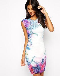 ASOS Body-Conscious Dress in Scuba Mirror Floral Print  --  $61.91   --  US.ASOS.COM