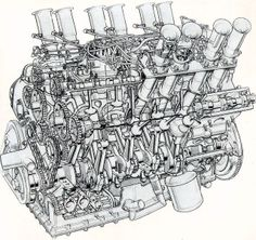 The original 1960s concept Jaguar V12 race engine of 5000cc later to be adopted and severely detuned for production cars.