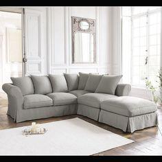 Corner sofa bed in Light Grey cotton, seats 6 ROMA
