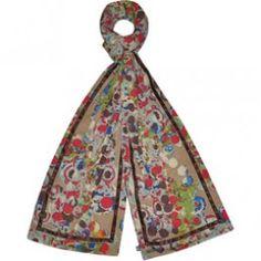Beige flower jersey scarf