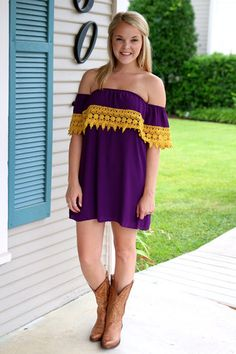 South Pacific Gameday Dress - Purple and Gold