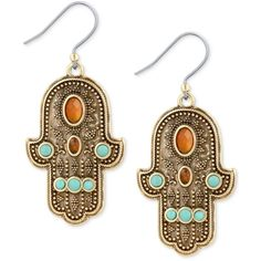 Lucky Brand Gold-Tone Beaded Hamsa Hand Drop Earrings ($35) ❤ liked on Polyvore featuring jewelry, earrings, gold, lucky brand jewellery, gold tone drop earrings, gold tone earrings, multi colored earrings and lucky brand earrings