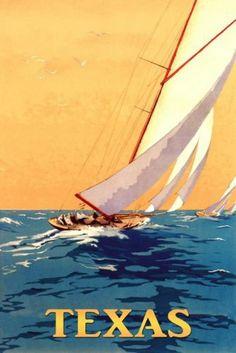 Texas Sailboat Boat Sport Travel Tourism Sailing Vintage Poster Repro Free s H | eBay $25