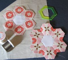Fussy Cut English paper pieced hexies.