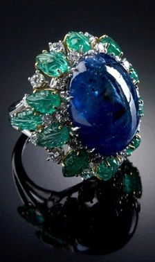 Veschetti black opal, carved emeralds & diamond cocktail ring