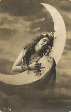 """Vintage Moon Goddess postcard / Perfect for the song, """"I'm in Love with the Man in the Moon."""""""