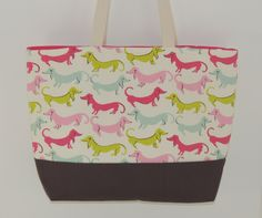 PInk and Gray Dachshund Wiener Dogs Cotton Canvas by BugabooBags