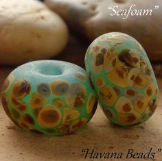SEAFOAM CRUSHED SHELLS  - Handmade lampwork glass beads by HavanaBeads.etsy.com