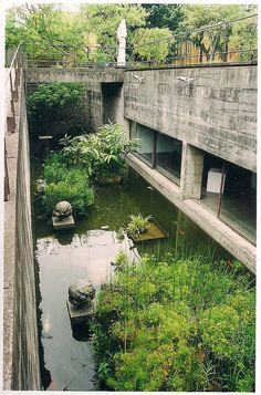 I want an internal koi moat! Green Architecture, Landscape Architecture, Landscape Design, Architecture Design, Garden Design, Beautiful Architecture, Exterior Design, Interior And Exterior, Brutalist