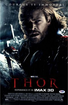 Chris Hemsworth Signed 12x18 Thor Courage Close Up Movie Poster Photo (PSA/DNA)