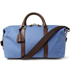 Mulberry Small Clipper Leather-Trimmed Canvas Holdall Bag | MR PORTER, love the blue tone in this bag! Very Italian looking!