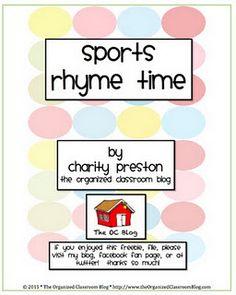 Sports Rhyme Time Freebie!