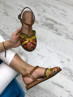 Ineed this shoes plz how do I purchase it? Women's Shoes, Shoes Flats Sandals, Cute Sandals, Sock Shoes, Cute Shoes, Me Too Shoes, Leather Slippers, Leather Sandals, Jelly Shoes Outfit