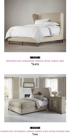 Restoration Hardware French Wing Fabric Bed $3375 vs Overstock Wingback Cream Queen Size Upholstered Bed $702