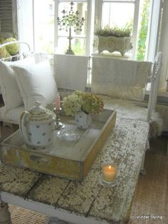Shabby Chic Livingroom - will I every learn to apply chippy paint like this?  just beautiful...