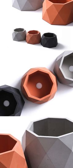 Polygonal Concrete Modern Polygonal Succulent Planter Flower Pot Pen Pencil Holder Office Desk Stationery Organizer