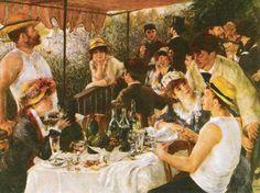 """""""Almoço dos Remadores"""", de Pierre-Auguste RENOIR A tela apresenta um animado grupo que almoça no terraço do Restaurant Fournaise, em Chatou, próximo aos balneários de La Grenouillère, Bougival e Argenteuil, às margens do Sena, a oeste de Paris. A tela pode ser comparada a uma anterior, o Baile no Moulin de la Galette."""