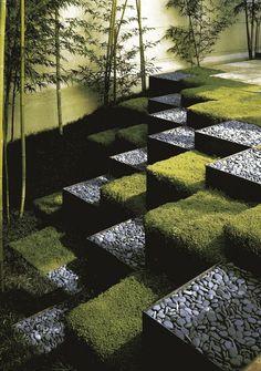 Modern Stepped Garden. Terracing