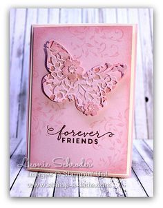 handmade card ... Cased from Kirsteen by Leanie .... monochromatic pink ... luv the diecut butterfly with lacy cut foliage and flowers from the heart die ... sweet tone on tone shadow stamping and sponging on the card face ... Stampin' Up!