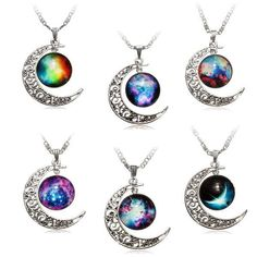 Galaxy Moon Necklace (13 AUD) ❤ liked on Polyvore featuring jewelry, necklaces, cabochon necklace, glass pendant jewelry, glass jewelry, cabochon jewelry and cosmic jewelry