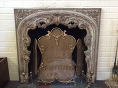 Antique Cast Iron French Fireplace Surround and Vintage Screen
