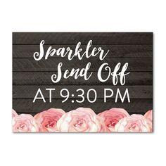 Wedding Sign - Editable - Rustic Wood Grain Watercolor Flowers - Sparkler Sendoff - Instant Download Printable - Style 6 - 5x7