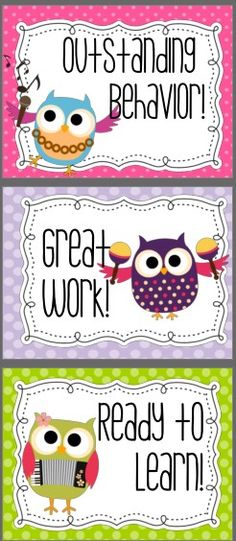 Cute Owls Behavior Clip Chart  Works great to draw attention to the on task students.  Also includes AR charts with reward tickets UPDATE: 2013-2014 calendar to record colors is included.