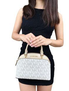 Michael Kors Emmy SM Dome Satchel Handbag Vanilla/gold for sale online Satchel Handbags, Handbags Michael Kors, What In My Bag, Trendy Summer Outfits, Gold For Sale, Mk Purse, Vanilla, Purses, Wallet