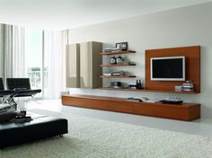 Modern Living Room Tv three level mounted tv wall units with white cabinet | home ideas