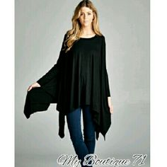 🛍HP🛍Unbalanced Boho Tunic. Unbalanced Boho Tunic Top. Affordable Brandy Melville Style with asymmetrical hem. 3/4- full dolman style sleeve, loose fit. Made with lightweight jersey that is super soft and drapes very well. Pair with your favorite leggings or skinny jeans!95%rayon 5% spandex. OSFM Sizing should accommodate XS-XL April Spirit Tops