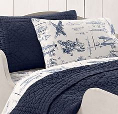 Pottery Barn Kids Taking Flight Airplane Twin Quilt Sham