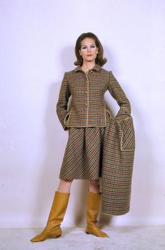 Bonnie Cashin ~ wool check 3 piece jacket, skirt and cape or coat~