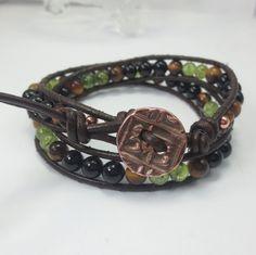 Gratitude for Health and Vitality Bracelet. Unisex Leather 2 Wrap Gemstone Bracelet with Peridot, Tigers Eye, Black Onyx, Copper Button $53 http://www.healingcrystaljewelry.ca/collections/gemstone-wrap-bracelets/products/gratitude-leather-2-wrap-gemstone-bracelet-with-peridot-tiger-s-eye-black-onyx-copper-button
