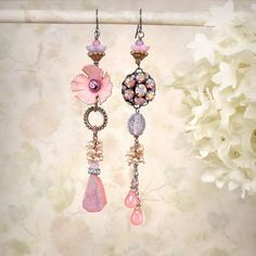 Sugar Plum Asymmetrical Earrings OOAK Pink by MiaMontgomery