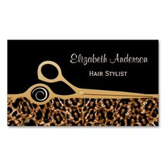 Fashionable and stylish hair salon business cards for professional hair stylist with a modern and trendy brown leopard print and embellished with a pair of chic gold hair cutting scissors. These elega